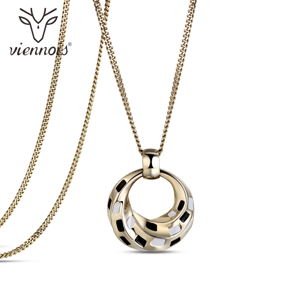 Viennios Pendant Necklace For Women Gold Long Chain Drop Necklace Female Fashion Jewelry