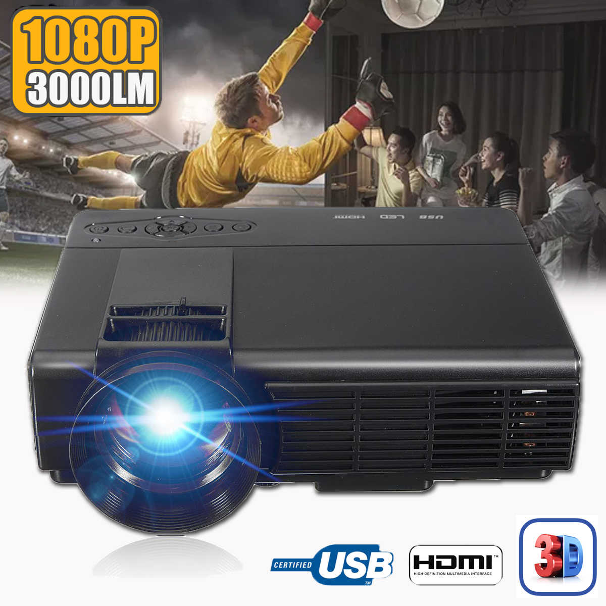 50 Lumens 3D 1080P Projector Full HD Home Theater Multimedia VGA USB HDMI LED Projector lcd Beamer VGA