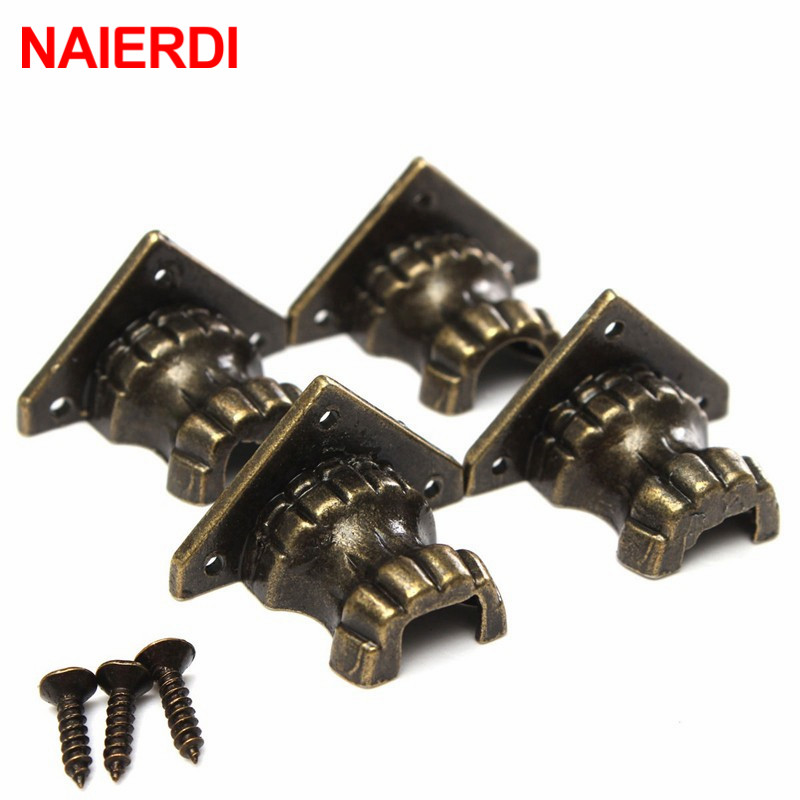 NAIERDI 8pcs Antique Brass Jewelry Chest Wood Box Decorative Feet Leg Corner Protector For Furniture Cabinet Protect Hardware