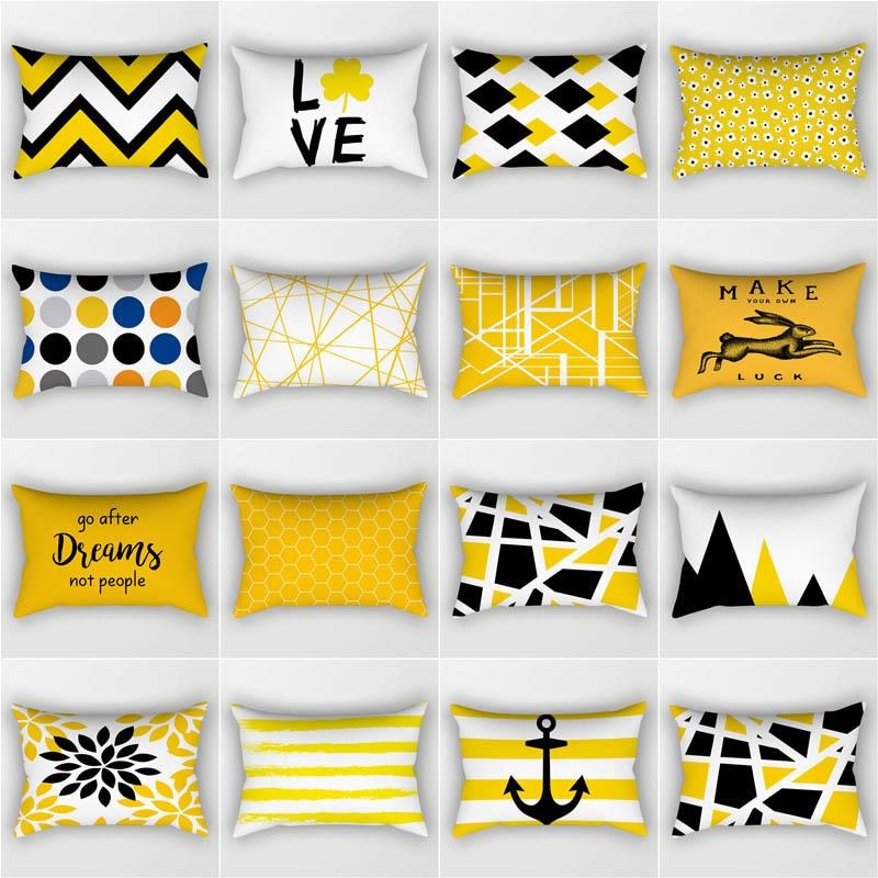 New Rectangular Polyester Printing Pillowcase Yellow Geometry 50x30cm Home Cushion Cover Waist Pillowcase Car Chair Pillow Cover