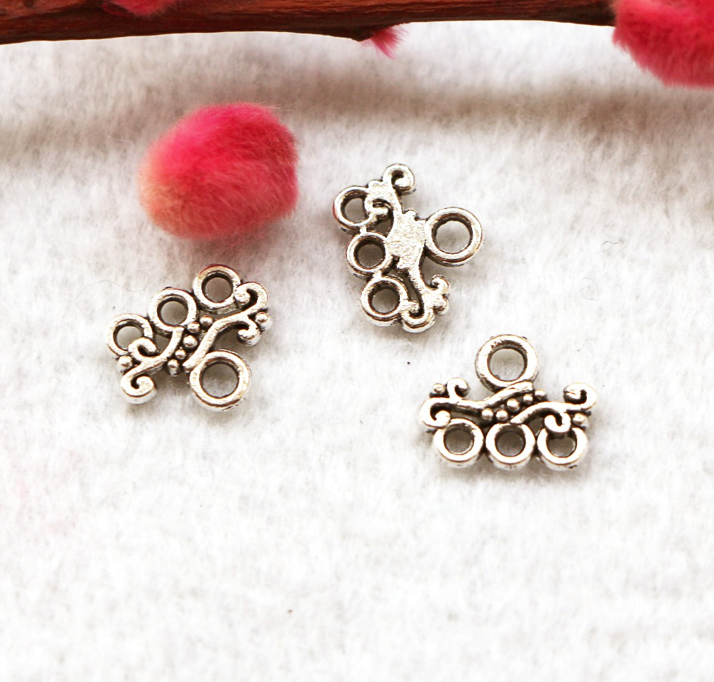 Free shipping 20Pcs 14 11mm Tibetan Silver wave Buckle Ot Retro earring connector Jewelry Accessories