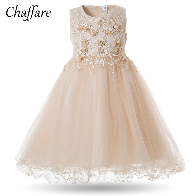 Chaffare Girls Party Dress Flower Wedding Kids Dresses Embroidery Formal Girl Ball Gown Evening Children Outfits Fancy Frocks