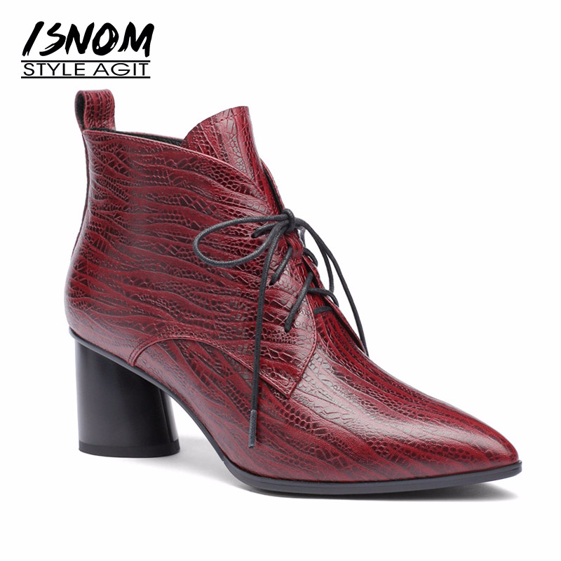 Ayakk.'ten Ayak Bileği Çizmeler'de ISNOM Yeni Baskı Hakiki Deri Kadın yarım çizmeler Sivri Burun Lace Up Ayakkabı Kadın Çizme Kalın Yüksek Topuklu Ayakkabılar Kadınlar 2018'da  Grup 1