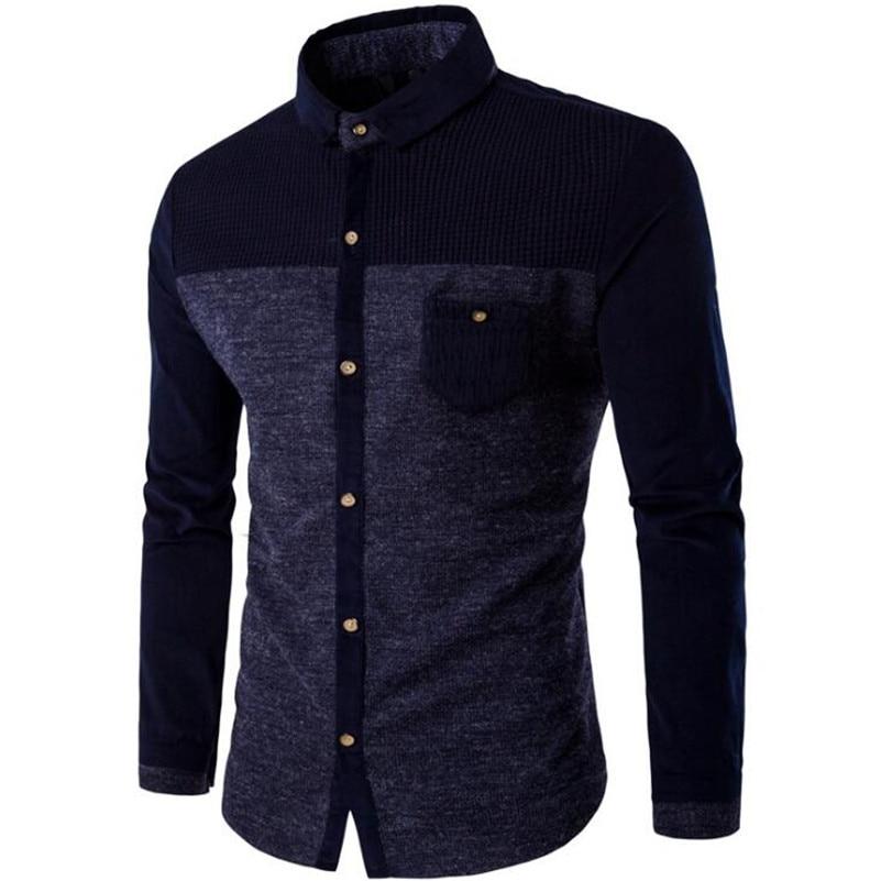 Örme Erkek Gömlek Uzun Kollu Pamuk Polyester Parchwork Gömlek - Erkek Giyim - Fotoğraf 5