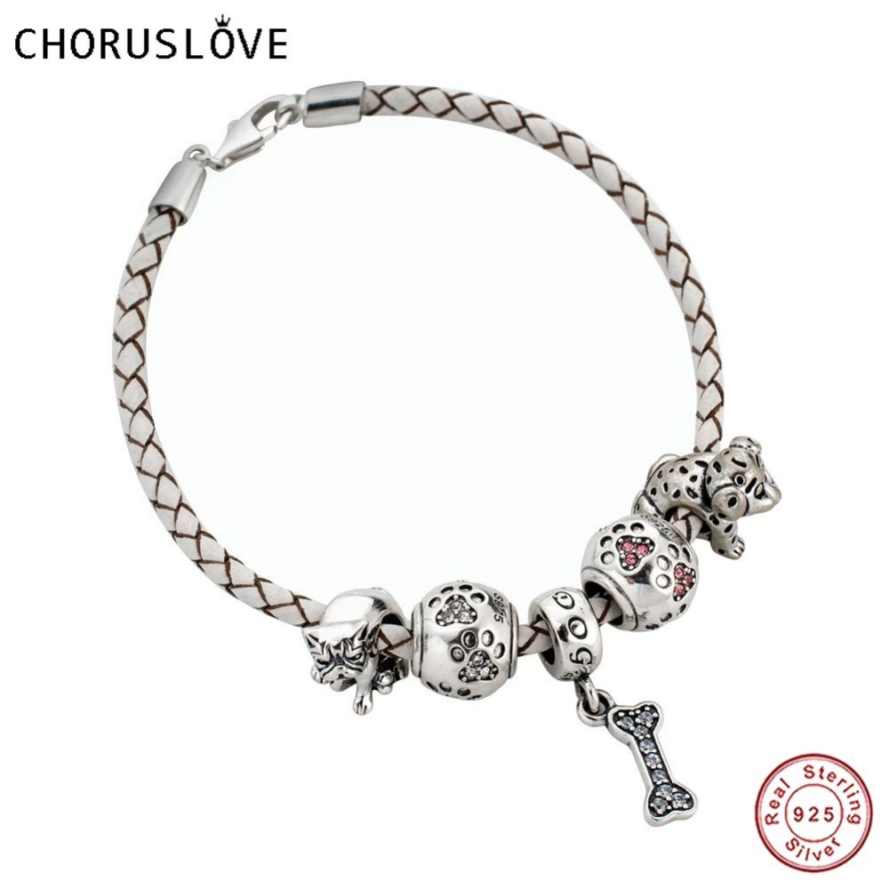 Choruslove White Braided Leather Bracelet with My Pet Dogs and Paw Print Charms Beads 925 Silver Lobster Clasp for Gifts SJ2008 mirage pet products 20 inch patriotic star paw screen print shirts for pets 3x large white