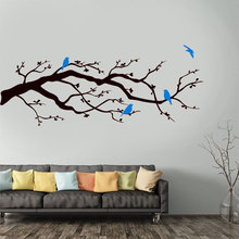 Contemporary Cherry Blossom Branch With Birds Wall Sticker Vinyl Home Decor Living Room Nursery Tree Decals Floral Murals 3591