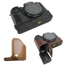 Lederen case Camera bag Bottom cover Half Body set Voor Sony ILCE 9 A9 A7III A7M3 A7RIII A7RM3 A7MK3 Met batterij Opening