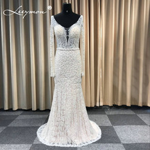 Leeymon Heavy Beaded Full Pearls Wedding Dress V Neck Long Sleeves Mermaid Bridal Gown Ivory Floor Length Dress