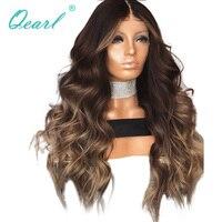 Натуральные волосы Синтетические волосы на кружеве парики Ombre слоистых Цвет волнистые бразильский Волосы remy парики шнурка для черный Для ж