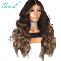 Human Hair Lace Front Wigs Ombre Layered Color Wavy Brazilian Remy Hair Lace Wigs for Black Women 13x4 Pre Plucked Qearl