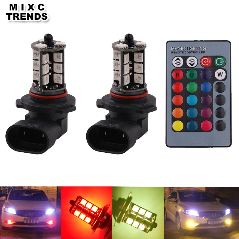 MIXC TRENDS 1Set RGB Multi Colors Changing LED fog Light Bulb 9005 9006 12V 24V Colorful Auto Car Light With Remote control tiptop tp t08 big led co2 launcher food class co2 gas led colorful rgb changing anti false triggering insurance 8pcs aa battery