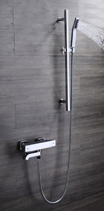 Free Shipping Concealed thermostatic 38 degree Shower Set with brass sliding bar handheld shower set with pipe IS086