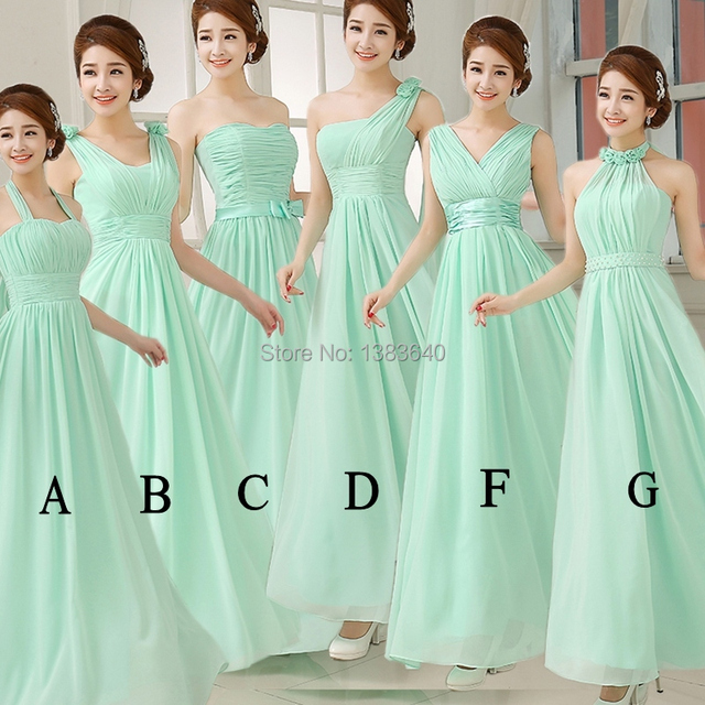 2015 Mint A Line Chiffon Bridemaid Dresses Vestidos with DIfferent ...