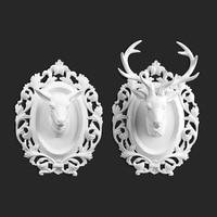 Nordic Белый Смола головы оленя фигурки старинные статуи домашнего декора ремесла Wall Deer объектов украшения Смола голова животного фигурки