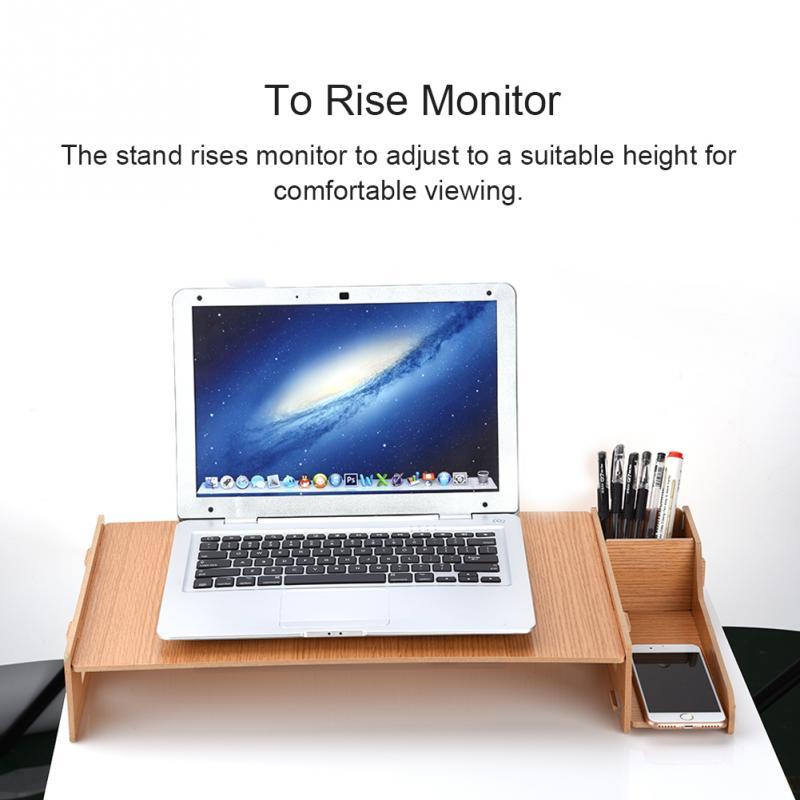 2 levels Solid Monitor Stand Organizer High Density HDF Board Desktop Monitor Riser for Monitor for laptop
