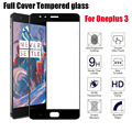 Para oneplus 3/3 t 5.5 pulgadas protector de pantalla de cristal templado Cubierta completa Uno Más Tres Oneplus3 9 H 3D Ultra Delgada Protectora película