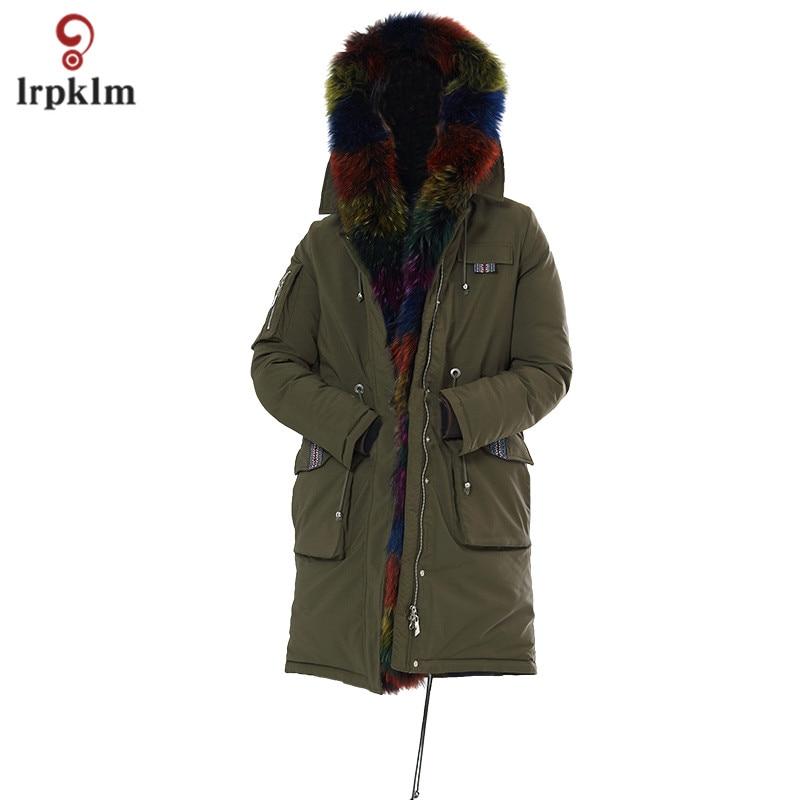 2017 New Fashion Women Winter Jackets Female Middle Long Luxury Big Fur Hooded Collar Parkas Women Warm Cotton Padded Coat PQ122