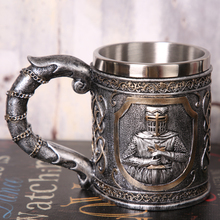 3D Personalized Warrior Beer Mug Original Cool Unique Knight Cup for Coffee Drinking Gift Men Father Skull