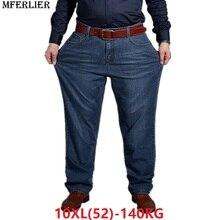 Брюки мужские джинсовые эластичные, повседневные Большие размеры 6XL 7XL 8XL 9XL 10XL, 44 46 48 50 52, осень, классические, большие размеры
