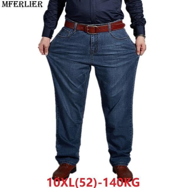 סתיו בתוספת גודל גדול ג ינס מכנסיים גברים 6XL 7XL 8XL 9XL 10XL מזדמן גדול ארוך מכנסיים 44 46 48 50 52 גמישות סתיו קלאסי חדש