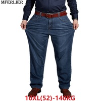MFERLIER plus big size jeans pants men 6XL 7XL 8XL 9XL 10XL casual large long pants 44 46 48 50 52 Elasticity summer classic new