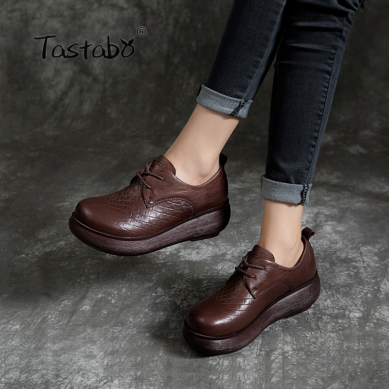 Tastabo Genuine Leather Woman Shoes 2019 Spring and summer new style Vintage handmade shoes Flat Platform
