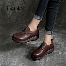 Tastabo אמיתי עור אישה נעלי 2019 אביב ובקיץ סגנון חדש בציר בעבודת יד נעליים שטוח פלטפורמה מזדמן פשטות