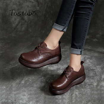 Tastabo Genuine Leather Woman Shoes 2019 Spring and summer new style Vintage handmade shoes Flat Platform Casual simplicity - DISCOUNT ITEM  48% OFF All Category