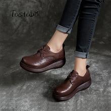 Tastabo couro genuíno mulher sapatos 2019 primavera e verão novo estilo vintage artesanal sapatos plataforma plana casual simplicidade