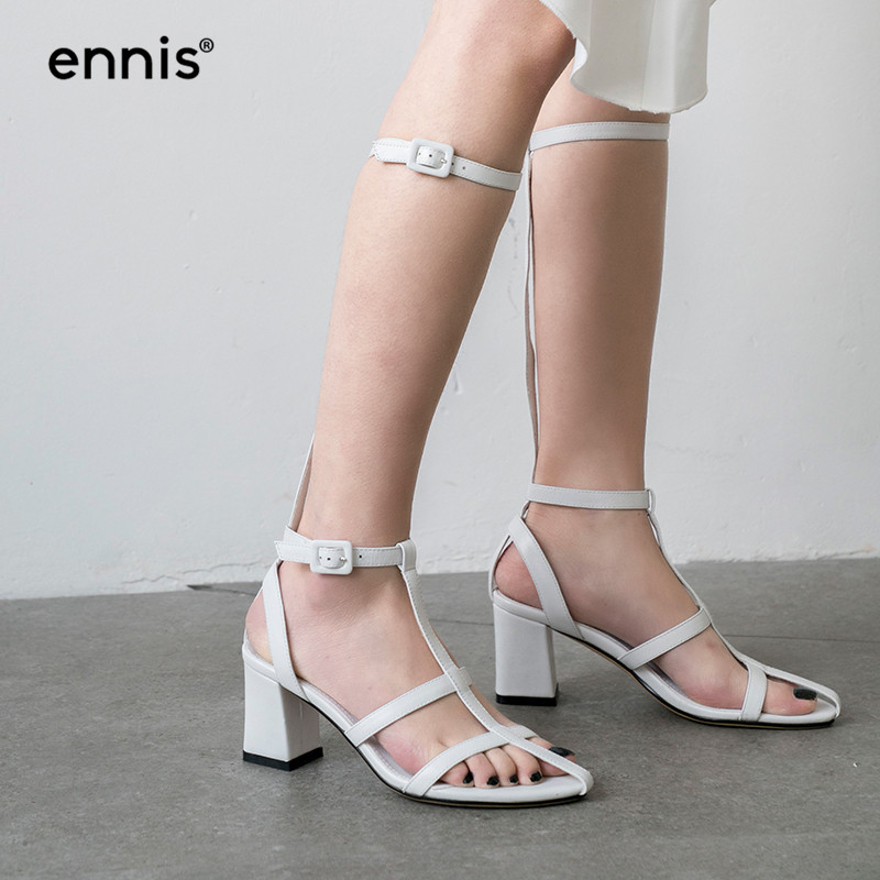 ENNIS 2019 NEW Rome Genuine Leather Gladiator Sandals Women Square High Heels Sandals Balck Knee High Sandals Summer Shoes S949-in High Heels from Shoes    3