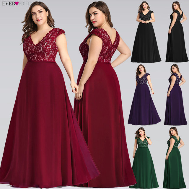 Plus Size Prom Dresses Long 2019 Ever Pretty EP07344 Elegant Burgundy A-line Sleeveless Lace Appliques V-neck Vestidos De Gala 1