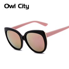 Oversized frame cat eye Sunglasses women brand designer UV Protection Coating Sunglasses Pink mirror