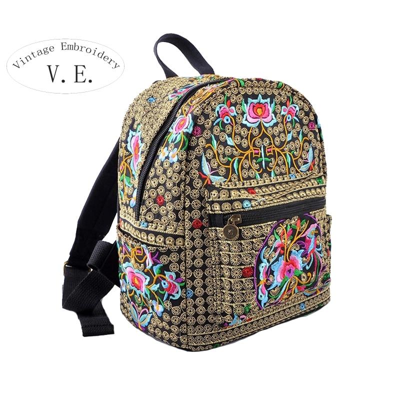 National Vintage Backpack Canvas Embroidery Ethnic Rucksack Women Flower Embroidered Travel Bags Schoolbag Backpacks Mochila