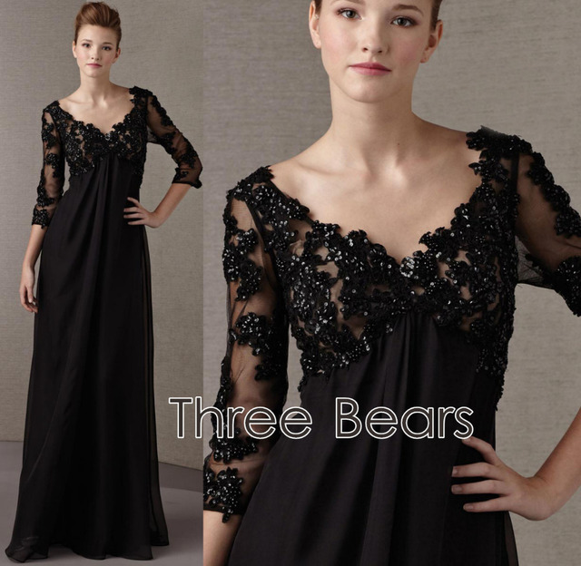 bb15d03817c Elegant 3 4 Sleeves Mother of the bride dress Plus Size Black Lace Appliques  A-line Beaded Chiffon Evening Dresses Custom Made