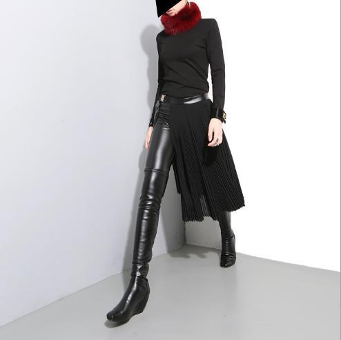 2019 Medio Dividido Sólido Lj269 Falda Suelta Mujeres Moda La Cintura Color Negro Marea Nueva Junta Cuerpo Las Alta Primavera De RxqCR7wr