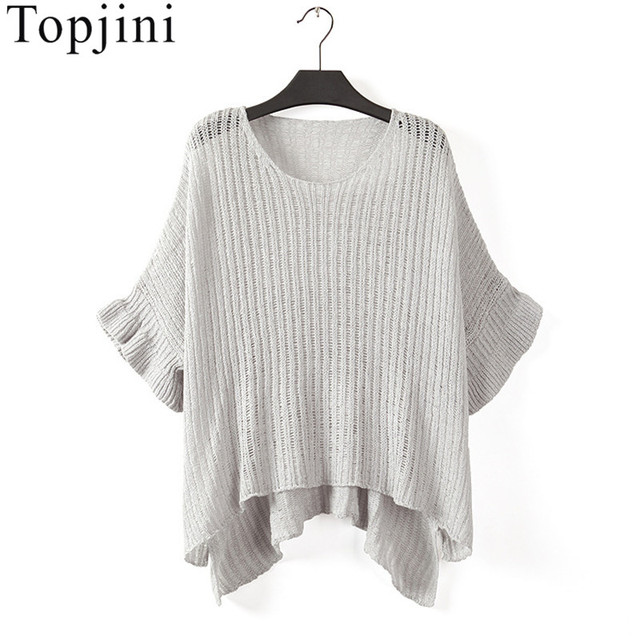 Plus Size Bust 140 Sexy Hollow Out Batwing Sleeve Sweaters Fashion Vintage Knitted Jumpers 2017 Spring Vintage Ladies Tops