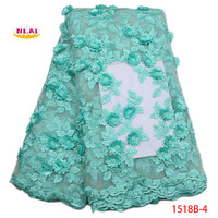 2018 High Quality Peach French Mesh Lace Gold African 3D Lace Fabric Sewing Accessories Nigerian Lace For Dedding DressNA1518B 1