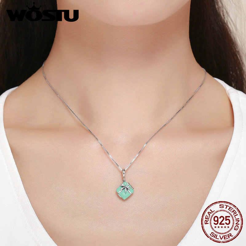 Wostu venda quente 925 prata esterlina macaron caixa de doces balançar charme ajuste contas pulseira colar para as mulheres jóias diy fic663
