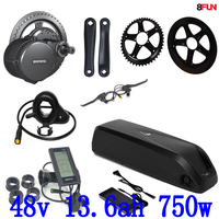 BBS02B BBS02 Bafang 48V 750W mid drive electric motor kit+48v 12ah Lithium Electric Bike Battery use LG cell with charger