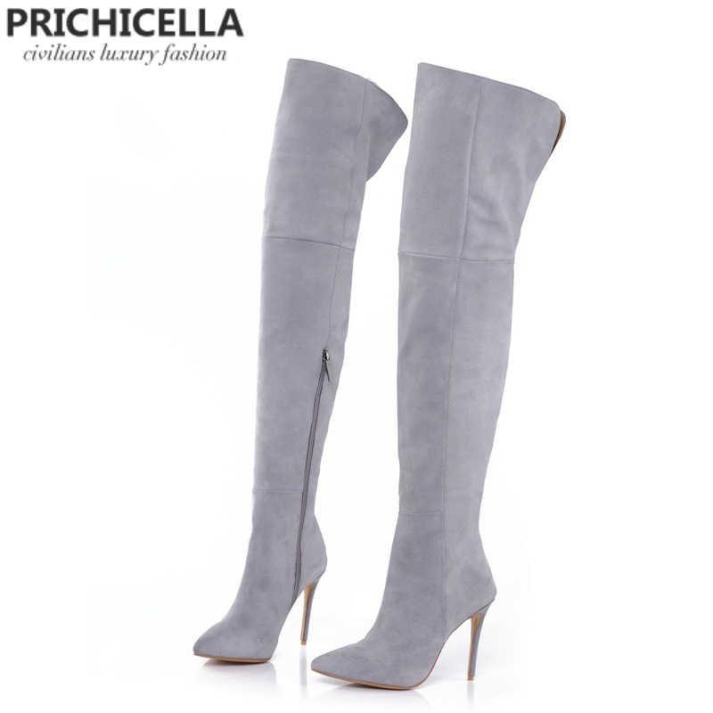 PRICHICELLA hakiki deri uyluk çizmeler stiletto topuklu ince sivri burun diz çizmeler üzerinde size34-42