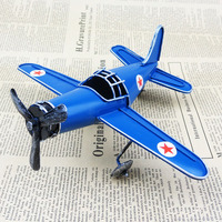Free Shipping Retro Style Iron Helicopter Metal Airplane Model Antique Artcraft Decoration Home Decoration Blue