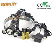 BORUIT 8000Lm Headlight 3x XML T6 LED Linterna Frontales Cabeza Flashlight Headlamp Head Light 18650 Battery For Fishing Hunting