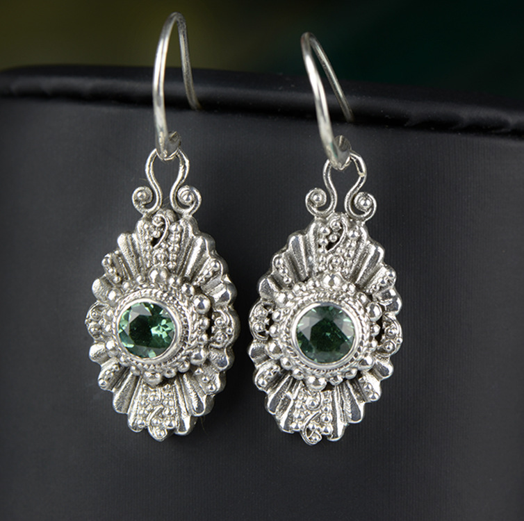 New Hot Rushed New Arrival Brinco Jewelry Earrings 925 Antique Thai Crystal Earrings, Womens Stone Handmade Inlaid Ornaments New Hot Rushed New Arrival Brinco Jewelry Earrings 925 Antique Thai Crystal Earrings, Womens Stone Handmade Inlaid Ornaments