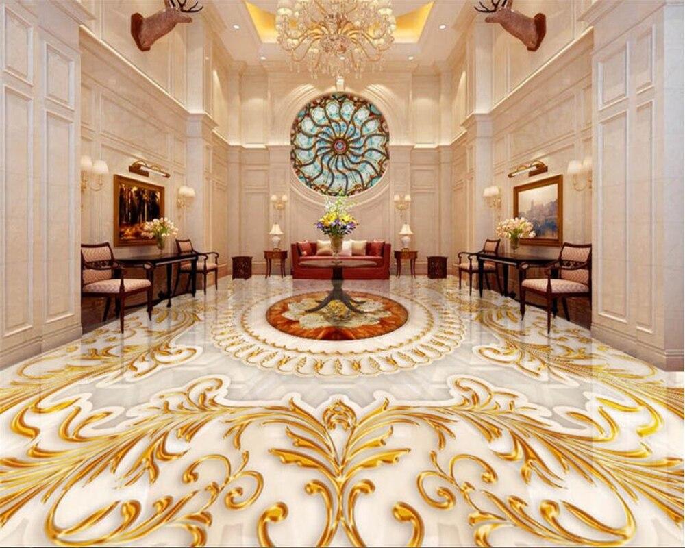 Beibehang Lantai 5D Wallpaper Gaya Eropa Ruang Tamu Mewah Emas Naik Marmer  Pola Abstrak 5D Lantai Papel Pintado