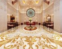 Beibehang Floor 3D Wallpaper European Style Living Room Luxurious Gold Rose Marble Abstract Pattern 3d Flooring