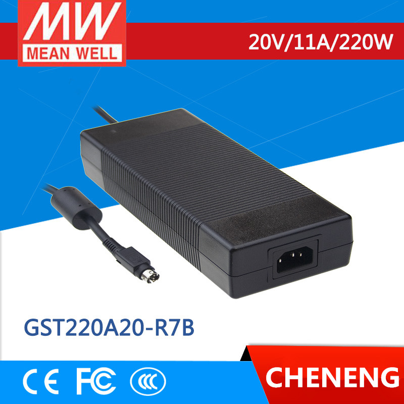 цена на MEAN WELL original GST220A20-R7B 20V 11A meanwell GST220A 20V 220W AC-DC High Reliability Industrial Adaptor