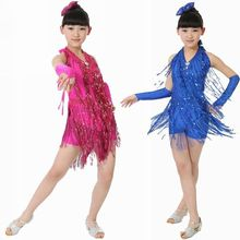 Children Tassel Sequin Latin Dancing Dress Girls Ballroom Dresses / Tango Salsa Dancing Dress Kids Performance Dance Wear  16