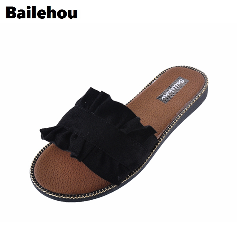 Bailehou Fashion Women Slippers Flat Women Shoes Casual Beach Slides Flip Flops Sandals Falbala Flower Slipper Suede Flats Shoes 2017 women sandals shoes sapato feminino bownot wedge flip flops fashion beach women slipper shoes bohemia women s shoes flower