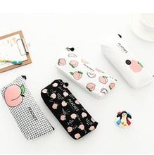 Продажа Милый холст персик пенал Kawaii Обувь для девочек сумки карандаш простой, Прочный Пенал школьный канцелярские принадлежности Высокое качество