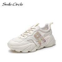Mejor Sneakers gruesos de círculo de sonrisa zapatos planos de Mujer Zapatos de cuña informales de malla